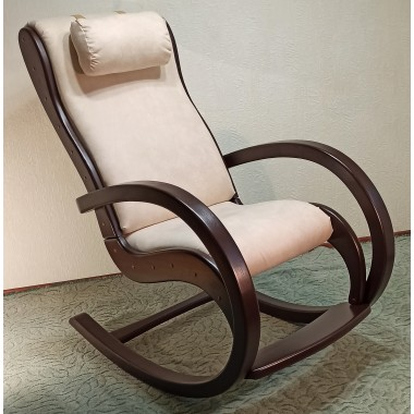 Крісло-качалка WM Відпочинок натуральне дерево Бежеве з коричневим (К-071)
