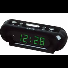Часы-будильник настольные электронные VST 716 черные с зеленой индикацией