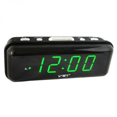 Часы-будильник настольные электронные VST 738 черные с зеленой индикацией