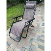 Крісло-шезлонг SUN RISE Трансформер з підніжкою та підголівником розкладне Сіре (PD-1250)