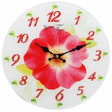 Часы настенные кухонные Your Time  Цветок  01-146s  стекло 28 см