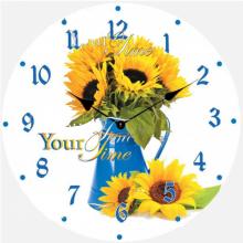 Часы настенные кухонные Your Time  Подсолнухи, 01-369s  стекло 28 см