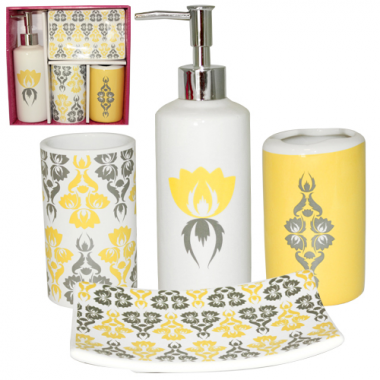 Набор для ванной комнаты   SNT Сказка 888-06-011 V 4 предмета  керамика Белый с желтым и серым узором