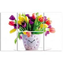 Часы настенные Your Time  Тюльпаны 06-404s  на холсте 4-х секционные