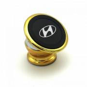Автомобільний магнітний тримач для мобільного телефона Bracket Magnetic  Hyundai золотий універсальний