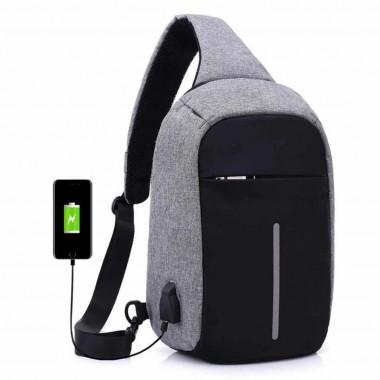 Сумка через плече  Buddy  Антизлодій  USB порт  Сіра (SV-190/1)